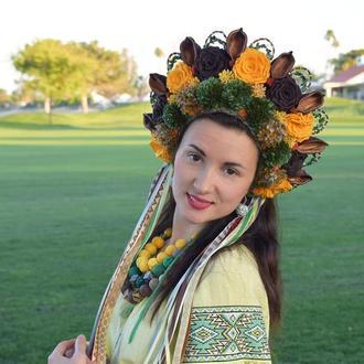 Венок диадема венок украинский пышный кокошник желтый фотосессия