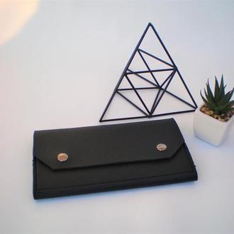Очень удобный черный кошелек handmade