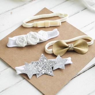 Набор повязок на голову для малышки, Подарок новорожденной девочке