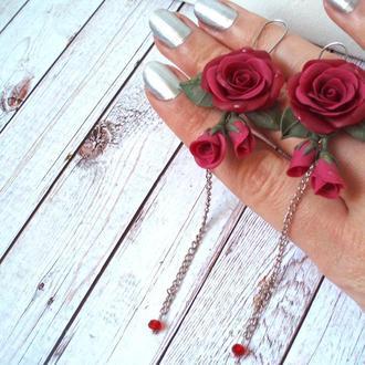 Шикарные длинные серьги цепочки розы бордо марсала
