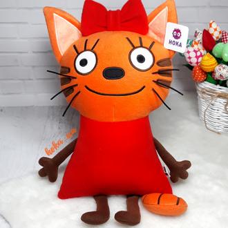 Мягкая игрушка - подушка кошка Карамелька, три кота.