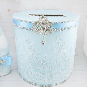 Сундук для денег голубой / Скриня для грошей блакитна / Коробка весільна голуба