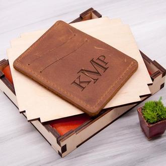Мужской кожаный кардхолдер для прав или ID паспорта с гравировкой инициалов