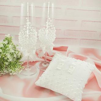 Свадебный набор белый / Білий набір для весілля / Бокали / Подушечка
