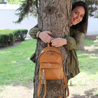Стильный кожаный рюкзак (карамельный)