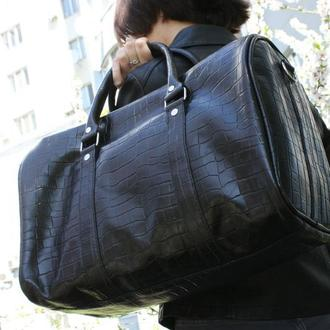 Дорожная (спортивная) сумка ′КРОКО′ из натуральной кожи