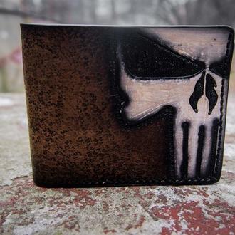 Кожаный кошелек Каратель, кошелек панишер, мужской кошелек, мужское портмоне