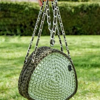 Женская сумка из пряжи, Триугольная сумка, Котомка вязаная крючком, подарок