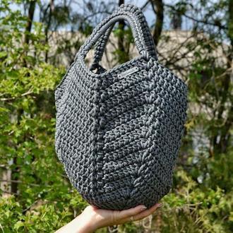 Женская сумка, серая сумка, Котомка из трикотажной пряжи, сумка крючком, подарок
