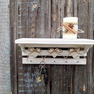 Белая полочка деревянная полка с крючками Ключница с полочкой Вешалка в прихожую Полка кухонная
