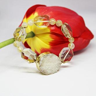 Женский желтый браслет из агата, кварца и волосатика, массивные украшения из натуральных камней