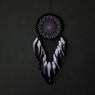 Большой черный ловец снов снов для девушки. Фиолетовый ловец снов. Подарок подруге на День рождения.