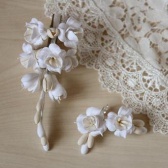 """Весільний комплект украшенийдля нареченої (сережки і шпилька) """"Повітряний айворі"""""""