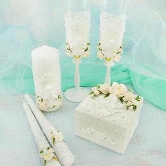 Свадебный набор белый / Білий набір для весілля / Бокали / Свечи / Шкатулка / Семейный очаг
