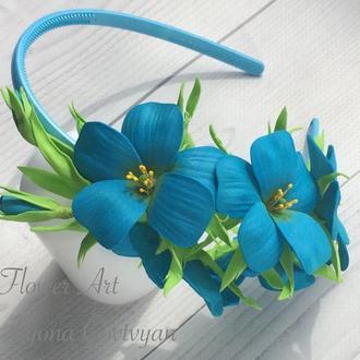 Ободок «Цветущий лён»