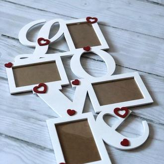 "Рамка из дерева ""Love"" на 4 фото+сердечки"