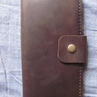 стильне портмоне з вінтажної шкіри crazy horse коричневого кольору