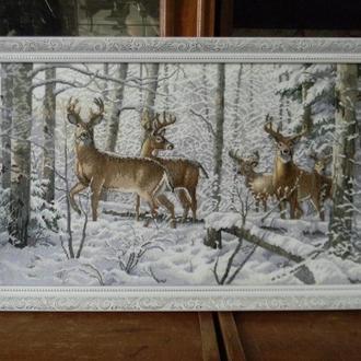"""Картина вышитая крестом """"Олени в зимнем лесу"""""""