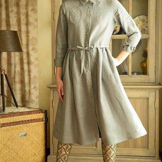 Льняное Платье в стиле Бохо с вышитой эмблемой