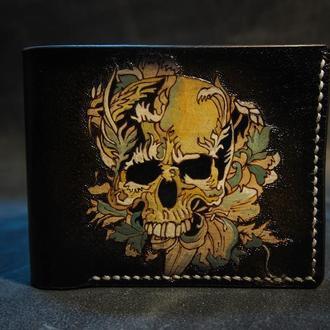 Кожаный кошелек Череп, мужское кожаное портмоне, портмоне с черепом, кошелек с черепом