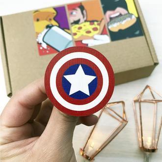 Значок из дерева Капитан Америка, деревянный значок, пин, брошь