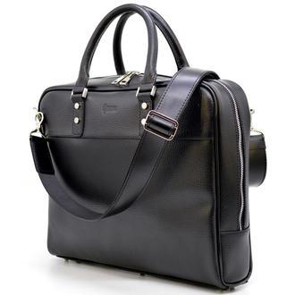 Деловая мужская сумка-порфель из натуральной кожи TA-4765-4lx TARWA черная для ноутбука макбука