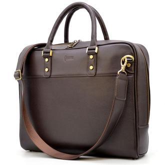 Мужская сумка-портфель из натуральной кожи TC-4765-4lx TARWA коричневая для ноутбука макбука