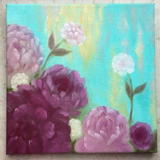Spring картина маслом 30х30 квіти піони