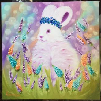 White Rabbit 🐇 Білий кролик картина маслом