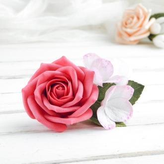Красивая заколка с малиновой розой и гортензией в прическу, Подарок девушке
