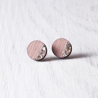 Пастельно розовые сережки круглые, Купить сережки Киев