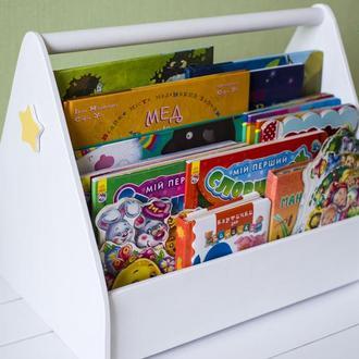 Поличка для дитячих книг, дерев'яна полка в дитячу, органайзер для книг, стелаж. Подарунок дитині.