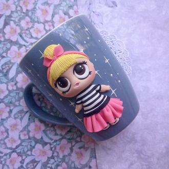 Чашка с декором куколка LOL