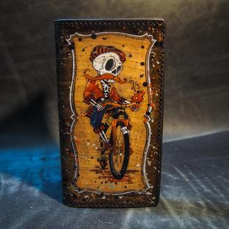 Кожаный кошелек Велосипедист, мужское портмоне, мужской кошелек, подарок велосипедисту