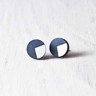 Деревянные сережки гвоздики, круглые синие серьги купить Киев