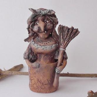 Баба Яга в ступе статуэтка подарок сувенир