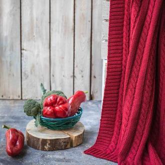 Покрывало вязаное Vividzone КЛАССИК 220х240 красный