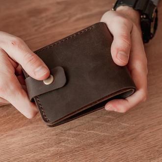 Кожаный мужской кошелек Oskar, классическое мужское портмоне с монетницей с застежкой
