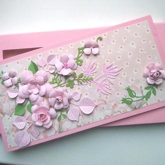 Открытка в коробочке Розовый букет