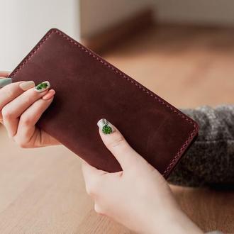 Кожаный кошелек-клатч Vinsent, большой вместительный кошелек из кожи, подарок жене.