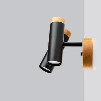 Бра настенный (потолочный  светильник) в стиле лофт, металл и ясень