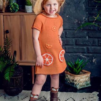 Платье для девочки оранжевое, летнее, платье из хлопка