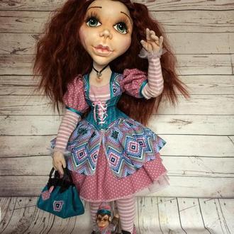 Текстильная шарнирная кукла Циркачка