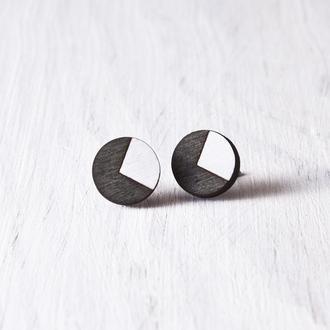 Деревянные сережки гвоздики, круглые черные серьги купить Киев
