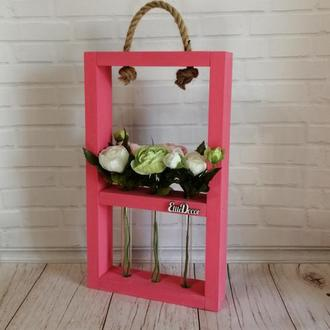 Деревянная рамка для цветов с колбами, пробирками Классик 3к
