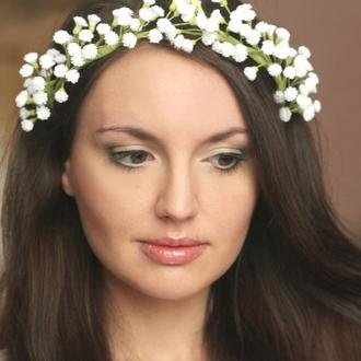 """Свадебный венок с цветами """"Сказочная гипсофила"""""""
