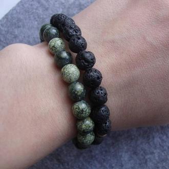 Сет браслетов из натурального камня Змеевик и Вулканическая Лава