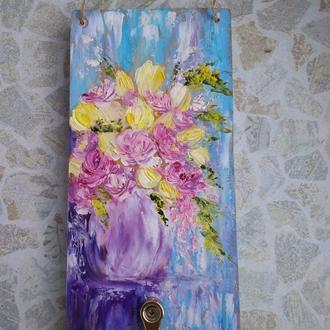 Ключница  роспись Весенний букет