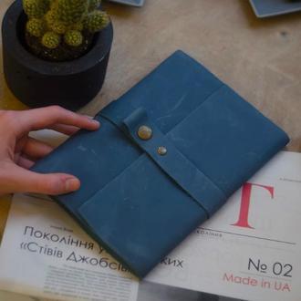 Кожаный блокнот Синий 120страниц недатированный планер ежедневник органайзер А5
