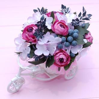 Декоративный велосипед с цветами - подарок на 8 Марта, день рождения, день матери